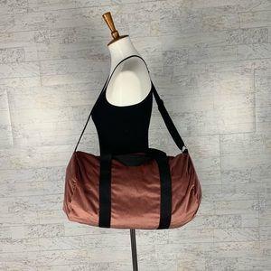 Handbags - Dusty rose pink velvet duffle bag gym bag